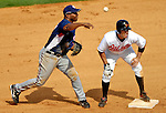 9 March 2007: Washington Nationals infielder Joe Thurston (left) holds Baltimore Orioles center fielder Adam Stern on second as the Orioles host the Nationals at Fort Lauderdale Stadium in Fort Lauderdale, Florida. <br /> <br /> Mandatory Photo Credit: Ed Wolfstein Photo