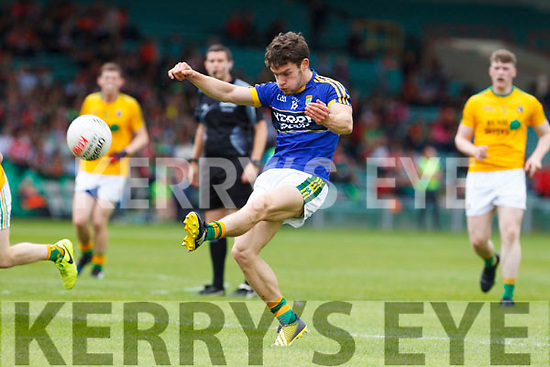 Tomás Ó'Sé of Kerry shoots for a point. All Ireland Junior Championship Semi-Final, Kerry V Leitrim. 22/07/2017. Gaelic Grounds, Limerick, Co Limerick.