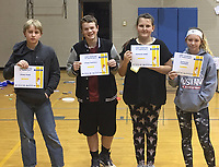 Photo Submitted<br /> Seventh grade A Honor Roll students for the first semester are (left), Jason Paine, Ethan Marsala, Novalee Haney, and KateLynn Townsend.