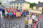 Locals in Castlegregory are devastated that plans for their playground have been turned down after an objection by a non resident of the village. Pictured at the front were: Josh Roberts, Dylan Sullivan and Anna Roberts. Keith, Kaden Woodward, Justine Keane Woodward, Mary Scully Murray, Aoibheann and Siobhan Murray, with locals and their children from the community.
