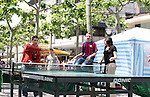 10 June 2006: Soccer fans and locals enjoy market day in Frankfurt before the game. Several Ping Pong, or Table Tennis, tables were set up for the public to enjoy. England played Paraguay at Commerzbank Arena in Frankfurt, Germany in match 3, a Group B first round game, of the 2006 FIFA World Cup.