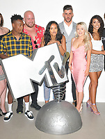 Jon Swan, Chris McNaughten, Maya Jama, Daniel James, Olivia Beaumont and Eleanor Lofters at the &quot;True Love or True Lies?&quot; MTV brand new show launch  photocall, MTV HQ, Hawley Crescent, London, England, UK, on Tuesday 07 August 2018.<br /> CAP/CAN<br /> &copy;CAN/Capital Pictures