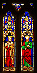 Stained glass window in church of Saint Margaret, Chilmark, Wiltshire, England, UK - Heaton, Butler and Bayne 1856 Saints John and Peter