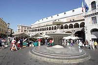 Una veduta di Piazza delle Erbe a Padova.<br /> A view of Piazza delle Erbe in Padua.<br /> UPDATE IMAGES PRESS/Riccardo De Luca