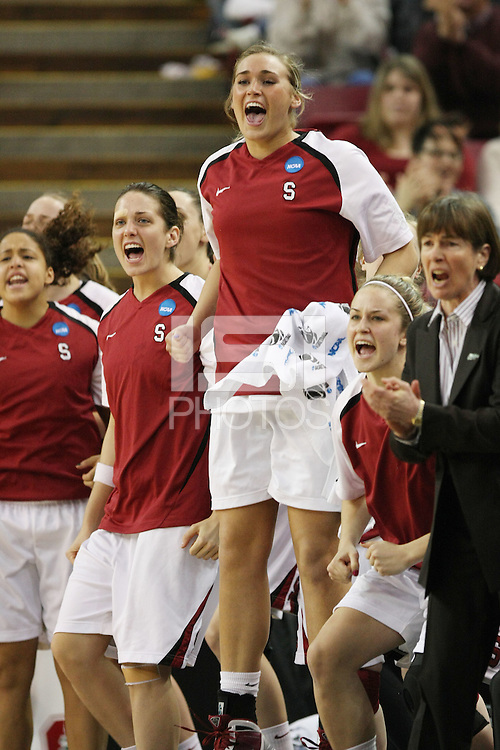 SACRAMENTO, CA - MARCH 29: Grace Mashore, Michelle Harrison, Joslyn Tinkle and JJ Hones during Stanford's 55-53 win over Xavier in the NCAA Women's Basketball Championship Elite Eight on March 29, 2010 at Arco Arena in Sacramento, California.