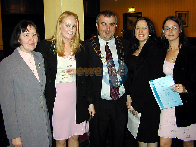 Kathleen Brennan, Angie Reay, Mayor of Drogheda, Cllr. Sean Collins, Barbara Tiernan and Mandy Reilly at the VEC awards night in the Boyne Valley Hotel..Picture Paul Mohan Newsfile