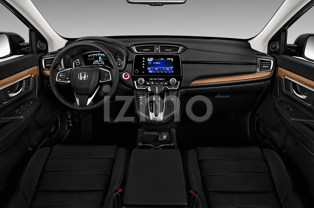 Stock photo of straight dashboard view of 2018 Honda CR-V EX-L 5 Door SUV Dashboard