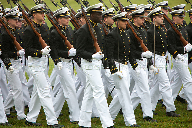 US Naval Academy cadets in formal dress march in the annual Color Parade at Worden Field on May 21, 2015 in Annapolis.