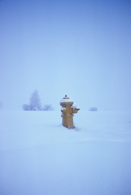 "Fire hydrant at the end of the road, on the Prairies, after a snowstorm near St. Albert, Alberta, ""Last Chance"" for canine pal."