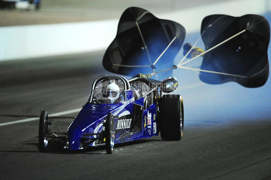 Oct. 28 2011; Las Vegas, NV, USA: NHRA jet dragster during qualifying for the Big O Tires Nationals at The Strip at Las Vegas Motor Speedway. Mandatory Credit: Mark J. Rebilas-US PRESSWIRE