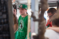 San Francisco, CA - Sunday, June 29, 2014: Mexico fans at the SOMA StrEat Food Park react to losing a late lead in the Netherlands vs. Mexico round of 16 World Cup match.