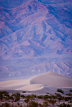 Blowing sand on the dunes, Grapevine Mountains, dusk