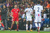 Armando Cooper of Panama looks to the referee after being pressured by Neil Taylor of Wales (left) during the International Friendly match between Wales and Panama at the Cardiff City Stadium, Cardiff, Wales on 14 November 2017. Photo by Mark Hawkins.