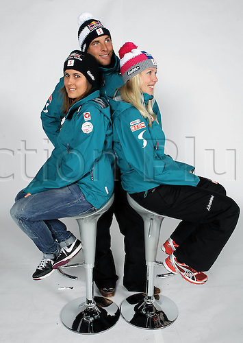 16.10.2010  Winter sports OSV Einkleidung Innsbruck Austria. Snowboarding OSV Austrian Ski Federation. men Picture shows Ina Meschik Benjamin Karl and Marion Kreiner AUT