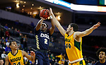 SIOUX FALLS, SD - MARCH 8: Deondre Burns #2 of the Oral Roberts Golden Eagles shoots over Tyler Witz #44 of the North Dakota State Bison at the 2020 Summit League Basketball Championship in Sioux Falls, SD. (Photo by Richard Carlson/Inertia)