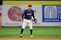 Binghamton Rumble Ponies shortstop Andres Gimenez (2) during a game against the Portland Sea Dogs on August 31, 2018 at NYSEG Stadium in Binghamton, New York.  Portland defeated Binghamton 4-1.  (Mike Janes/Four Seam Images)
