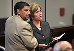 Nevada Senate Democrats Mark Manendo and Shirley Breeden talk on the Senate floor Thursday, May 26, 2011, at the Legislature in Carson City, Nev. .Photo by Cathleen Allison