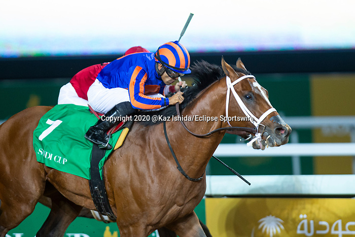 RIYADH,SAUDI ARABIA-FEB 29: Maximum Security #7,ridden by Luis Saez,wins the Saudi Cup at King Abdulaziz Racetrack on February 29,2020 in Riyadh,Saudi Arabia. Kaz Ishida/Eclipse Sportswire/CSM