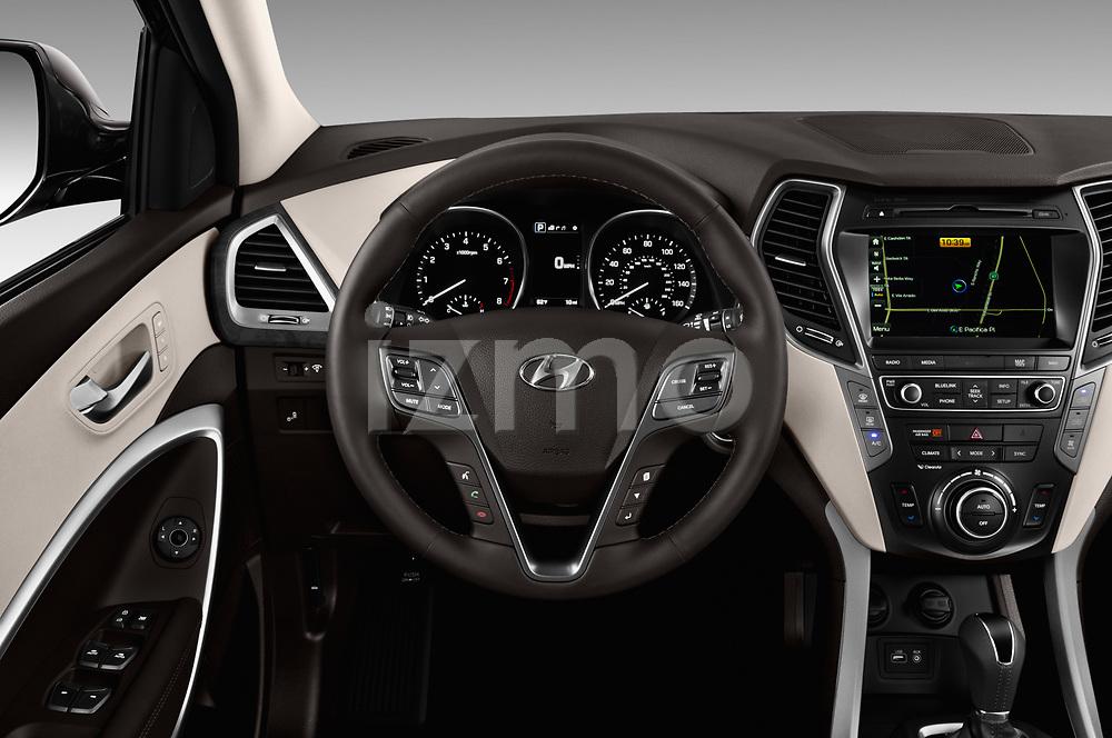 Car pictures of steering wheel view of a 2018 Hyundai Santa-Fe Limited-Ultimate-FWD 5 Door SUV Steering Wheel