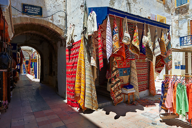 Traditional Berber shops in the medina of  Essaouira, Morocco