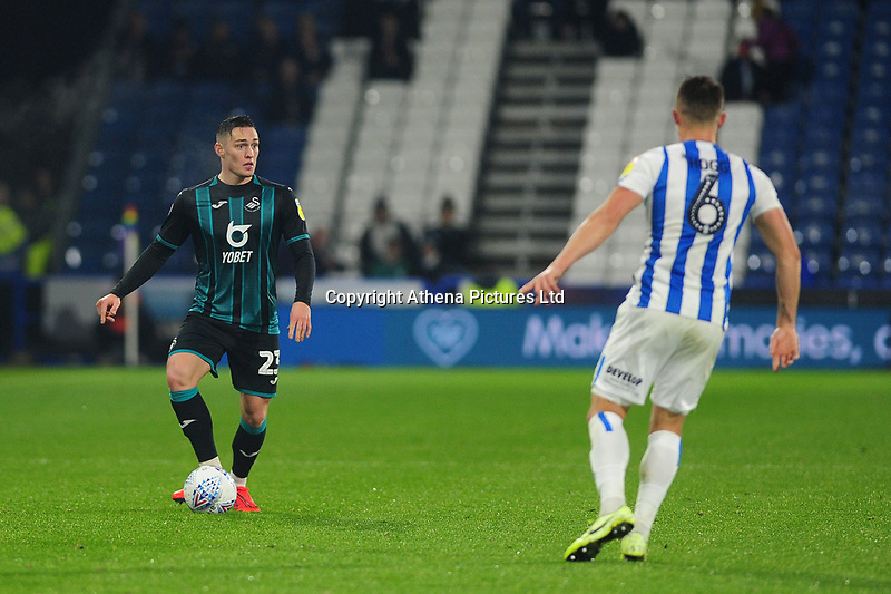 Connor Roberts of Swansea City in action during the Sky Bet Championship match between Huddersfield Town and Swansea City at The John Smith's Stadium in Huddersfield, England, UK. Tuesday 26 November 2019