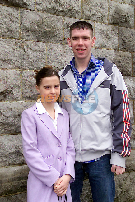 Christine Matthews with her brother Colin at confirmation in Tenure church..Picture Fran Caffrey Newsfile...This Picture is sent to you by:..Newsfile Ltd.The View, Millmount Abbey, Drogheda, Co Louth, Ireland..Tel: +353419871240.Fax: +353419871260.GSM: +353862500958.ISDN: +353419871010.email: pictures@newsfile.ie.www.newsfile.ie