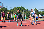 SOUTHBURY, CT. 13 July 2019-071319 - Hailey Christiano, 13, of Waterbury left, and Nicole Cappelli, 13, of Woodbury do a dribbling drill during during a girls basketball clinic at Community House Park in Southbury on Saturday. Bill Shettle Republican-American