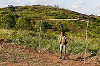 Tanzania, Tanga, goal keeper at soccer ground in nature / TANSANIA, Tanga, Tortwart auf Bolzplatz im Gruenen