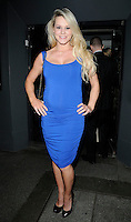 AMY GUY.At the Active Harry new campaign launch party, Embassy nightclub, London, England, UK, .February 9th 2011..full length  sleeveless blue dress hands on hips black shoes ruched pregnant maternity .CAP/CAN.©Can Nguyen/Capital Pictures.