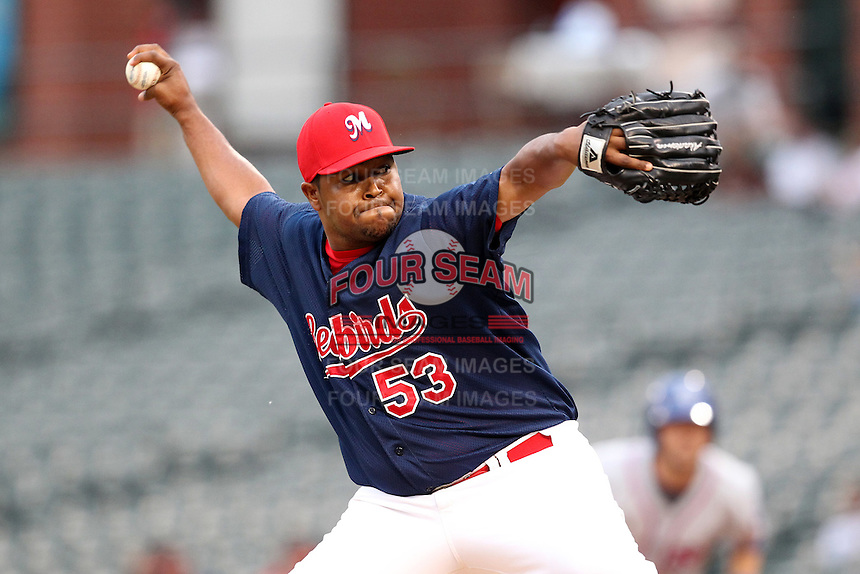 Memphis Redbirds pitcher Victor Marte #53 during a game versus the Round Rock Express at Autozone Park on April 30, 2011 in Memphis, Tennessee.  Memphis defeated Round Rock by the score of 10-7.  Photo By Mike Janes/Four Seam Images
