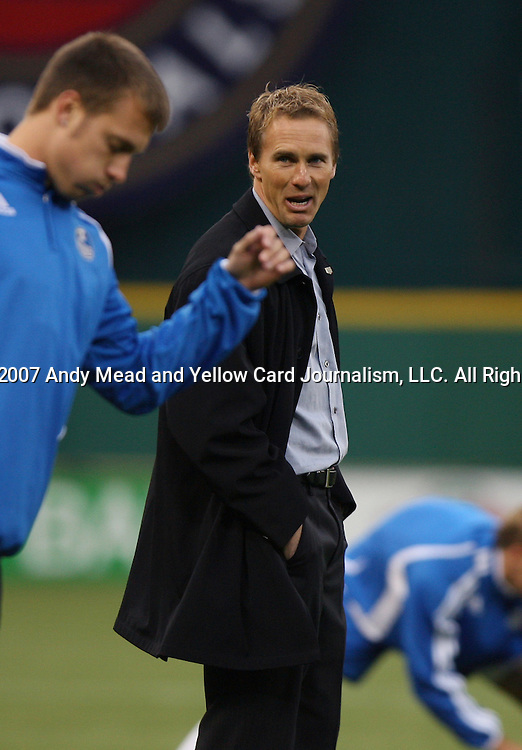 14 April 2007: Kansas City assistant coach Chris Henderson (behind) yells instructions to a player during warmups.  DC United lost 4-2 to the Kansas City Wizards at RFK Stadium in Washington, DC in their Major League Soccer 2007 regular season home opener.