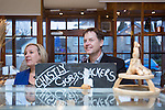 © Joel Goodman - 07973 332324 . 15/01/2015 . Stockport , UK . Deputy Prime Minister Nick Clegg (r) visits Cowburn's Family Backery on High Lane in Hazel Grove with Lib Dem PPC for Hazel Grove , Lisa Smart (l) . Photo credit : Joel Goodman