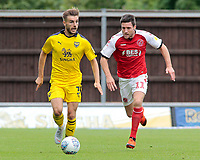 Oxford United's Luke Garbutt is chased down by Fleetwood Town's Bobby Grant<br /> <br /> Photographer David Shipman/CameraSport<br /> <br /> The EFL Sky Bet League One - Oxford United v Fleetwood Town - Saturday August 11th 2018 - Kassam Stadium - Oxford<br /> <br /> World Copyright &copy; 2018 CameraSport. All rights reserved. 43 Linden Ave. Countesthorpe. Leicester. England. LE8 5PG - Tel: +44 (0) 116 277 4147 - admin@camerasport.com - www.camerasport.com