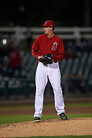 Inland Empire 66ers relief pitcher Nate Bertness (12) prepares to deliver a pitch during a California League game against the Lancaster JetHawks at San Manuel Stadium on May 18, 2018 in San Bernardino, California. Lancaster defeated Inland Empire 5-3. (Zachary Lucy/Four Seam Images)