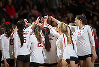 STANFORD, CA - December 1, 2018: Audriana Fitzmorris, Kate Formico, Caitlin Keefe, Tami Alade, Michaela Keefe at Maples Pavilion. The Stanford Cardinal defeated Loyola Marymount 25-20, 25-15, 25-17 in the second round of the NCAA tournament.