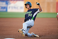 Vermont Lake Monsters right fielder Luke Persico (32) slides into third base during a game against the Auburn Doubledays on July 12, 2016 at Falcon Park in Auburn, New York.  Auburn defeated Vermont 3-1.  (Mike Janes/Four Seam Images)