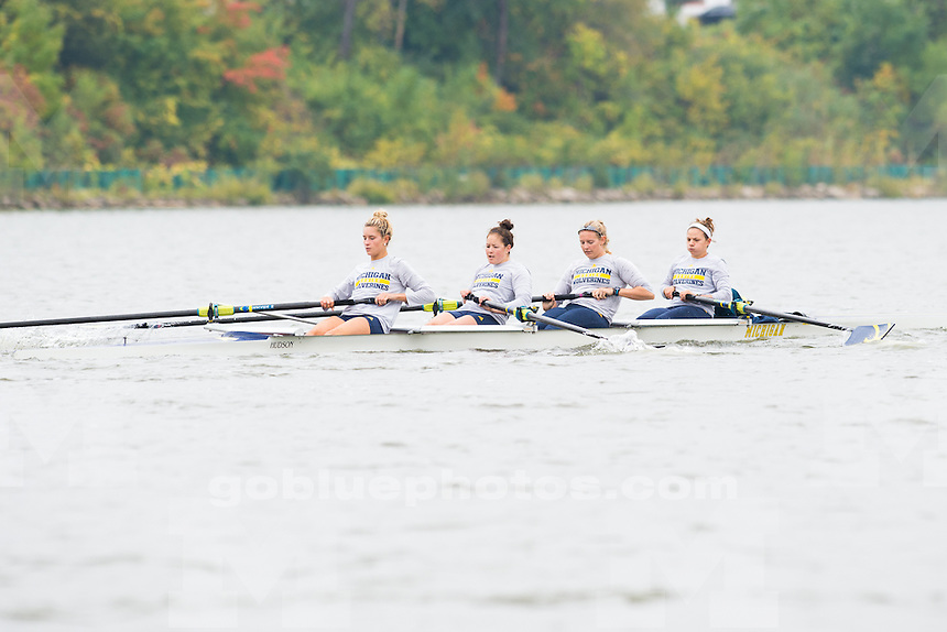 10/04/15 The University of Michigan women's rowing team against Ohio State University at Belleville Lake in Belleville, Michigan.