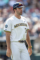 Michigan Wolverines pitcher Jack Bredeson (34) during Game 11 of the NCAA College World Series against the Texas Tech Red Raiders on June 21, 2019 at TD Ameritrade Park in Omaha, Nebraska. Michigan defeated Texas Tech 15-3 and is headed to the CWS Finals. (Andrew Woolley/Four Seam Images)
