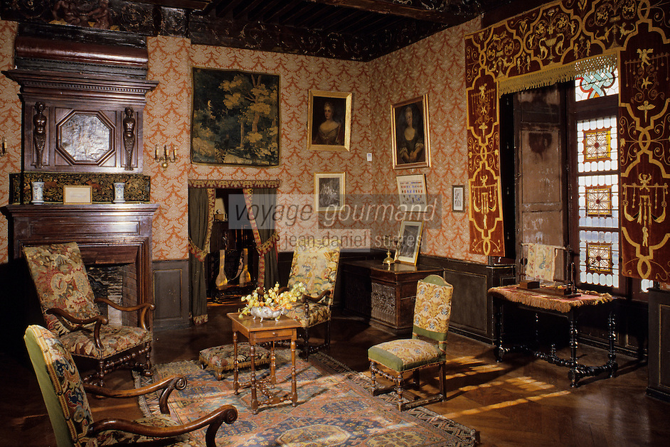 Europe/France/Auverne/63/Puy-de-Dôme/Aigueperse : Le Château de La Roche Aigueperse - Grand salon