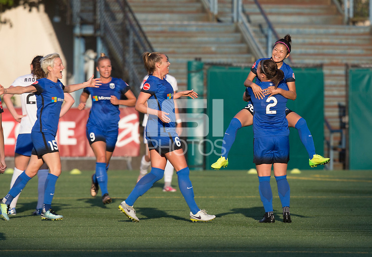 Seattle, WA - Saturday July 15, 2017: Megan Rapinoe, Merritt Mathias, Lindsay Elston, Nahomi Kawasumi, Christine Nairn during a regular season National Women's Soccer League (NWSL) match between the Seattle Reign FC and the Boston Breakers at Memorial Stadium.