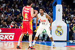 Real Madrid's player Thompkins and UCAM Murcia's player Antelo during the third match of the Liga Endesa Playoff at Barclaycard Center in Madrid. May 31. 2016. (ALTERPHOTOS/Borja B.Hojas)