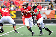 College Park, MD - SEPT 22, 2018: Maryland Terrapins wide receiver DJ Turner (1) runs the football during game between Maryland and Minnesota at Capital One Field at Maryland Stadium in College Park, MD. The Terrapins defeated the Golden Bears 42-13 to move to 3-1 on the season. (Photo by Phil Peters/Media Images International)
