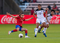 HOUSTON, TX - JANUARY 28: Stephannie Blanco #16 of Costa Rica crosses the ball during a game between Costa Rica and Panama at BBVA Stadium on January 28, 2020 in Houston, Texas.