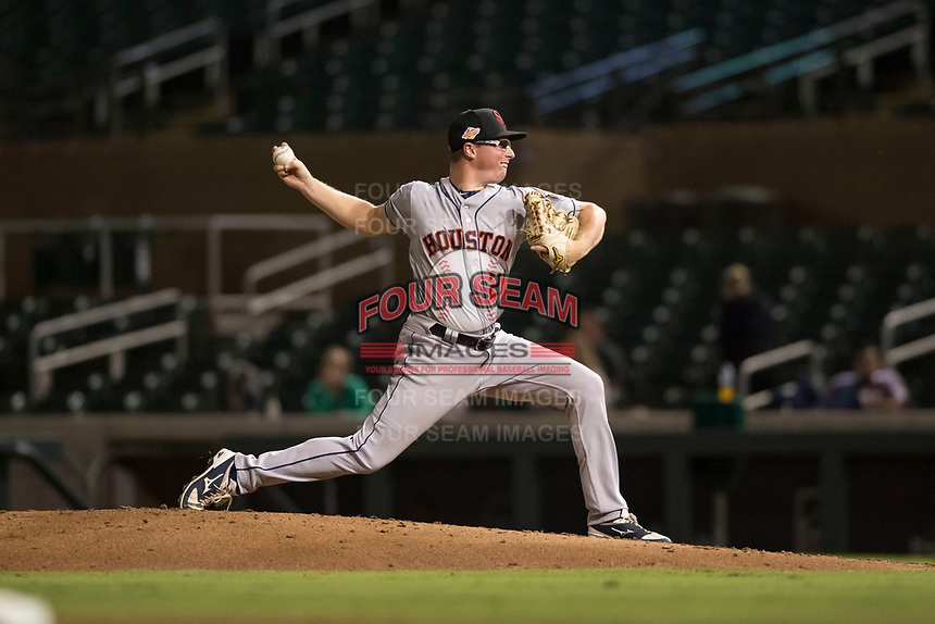 Scottsdale Scorpions relief pitcher Trent Thornton (21), of the Houston Astros organization, delivers a pitch during an Arizona Fall League game against the Salt River Rafters at Salt River Fields at Talking Stick on October 11, 2018 in Scottsdale, Arizona. Salt River defeated Scottsdale 7-6. (Zachary Lucy/Four Seam Images)