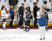 The Friar seniors skated over to shake hands with the BC seniors. - The Boston College Eagles defeated the visiting Providence College Friars 7-1 on Friday, February 19, 2016, at Kelley Rink in Conte Forum in Boston, Massachusetts.