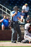 Umpire Alberto Ruiz during an Arizona Fall League game between the Surprise Saguaros and Peoria Javelinas on October 20, 2016 at Surprise Stadium in Surprise, Arizona.  Peoria defeated Surprise 6-4.  (Mike Janes/Four Seam Images)