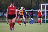 Upminster score the winning goal and celebrate during  Upminster HC Ladies vs Holcombe HC Ladies 1A, East Region League Field Hockey at the Coopers Company and Coborn School on 11th November 2017