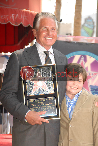 George Hamilton and son George-Thomas<br />at the ceremony honoring George Hamilton with the 2,388th Star on the Hollywood Walk of Fame. Hollywood Boulevard, Hollywood, CA. 08-12-09<br />Dave Edwards/DailyCeleb.com 818-249-4998