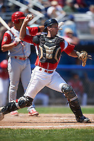 Batavia Muckdogs catcher Blake Anderson (26) throws down to second after blocking a pitch in the dirt during a game against the Williamsport Crosscutters on July 16, 2015 at Dwyer Stadium in Batavia, New York.  Batavia defeated Williamsport 4-2.  (Mike Janes/Four Seam Images)