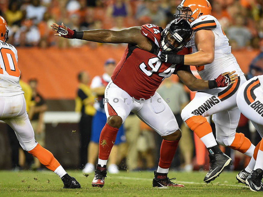 CLEVELAND, OH - AUGUST 18, 2016: Defensive lineman Tyson Jackson #94 of the Atlanta Falcons fights off the block of guard Joel Bitonio #75 of the Cleveland Browns in the first quarter of a preseason game on August 18, 2016 at FirstEnergy Stadium in Cleveland, Ohio. Atlanta won 24-13. (Photo by: 2016 Nick Cammett/Diamond Images) *** Local Caption *** Tyson Jackson; Joel Bitonio; Robert Griffin III